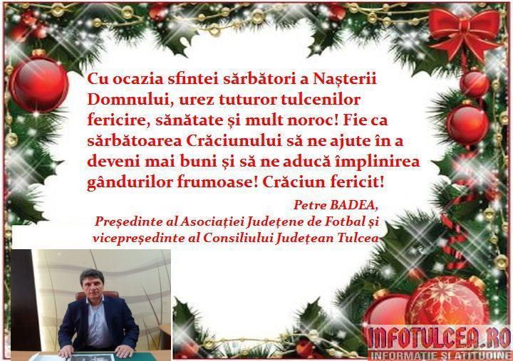 Photo of Mesajul de Crăciun al vicepreședintelui Consiliului Județean Tulcea, Petre BADEA